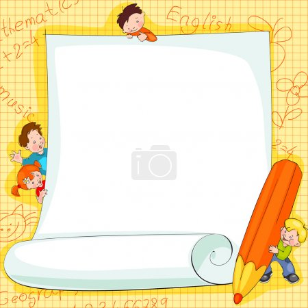 Illustration for Place for text - frames on school kids background Vector illustration. - Royalty Free Image