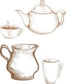 Tea cup and teapot cream graphic illustration