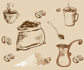 Set of hand-draw Coffee accessories graphic illustration