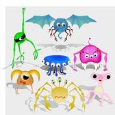 Vector set of aliens and different monsters