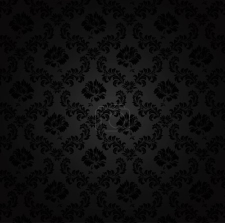 Illustration for Seamless damask pattern, on a black background - Royalty Free Image