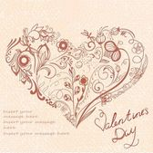 Greeting card with vegetative and floral ornaments in the form of heart And a place for a congratulatory inscription