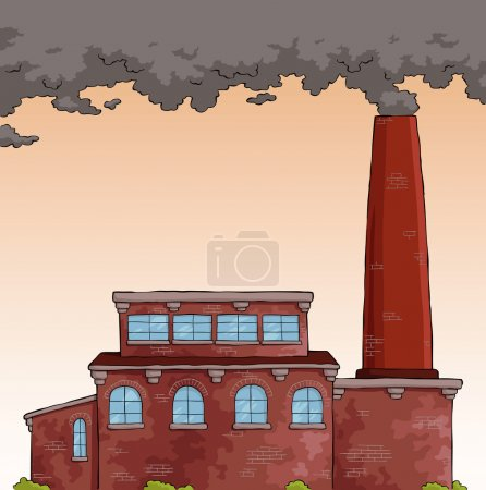 Illustration for Gray smoke from a pipe factory vector illustration - Royalty Free Image