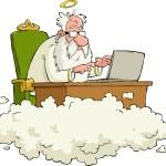 God works for the laptop vector illustration...