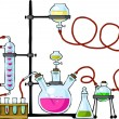 The chemical laboratory on a white background, vector