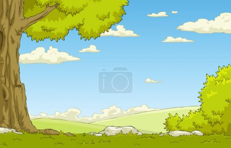 Illustration for Landscape with tree and shrub, vector illustration - Royalty Free Image