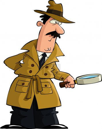 Illustration for The detective looked through a magnifying glass vector - Royalty Free Image
