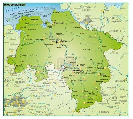 Niedersachsen Umgebungskarte Uebersicht