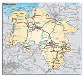 Niedersachsen Umgebungskarte orange