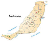 Map of Fuerteventura in orange