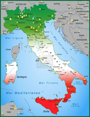 Map of Italy with national colors