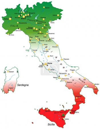Italy map with national colors