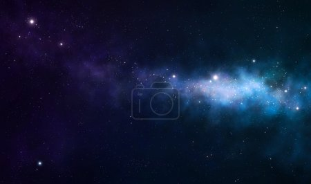 Photo for Blue and purple nebula on black space background - Royalty Free Image