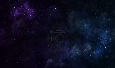Photo for Blue and purple nebulae in deep space - Royalty Free Image