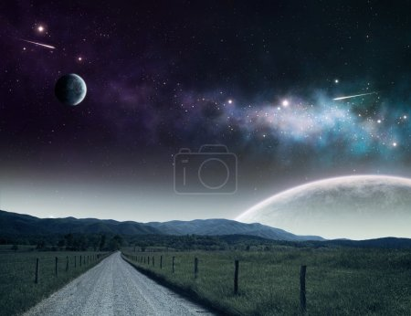 Photo for Pathway leading up to the night sky with moons and galaxies. - Royalty Free Image