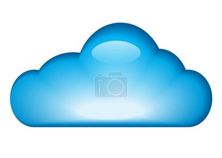 Illustration pour Bleu brillant nuage isolé sur fond blanc. illustration vectorielle - image libre de droit