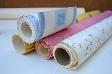 Photo for Rolls of wallpaper of different designs and colours - Royalty Free Image
