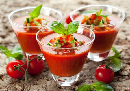 Delicious cold Gazpacho soup in glasses...