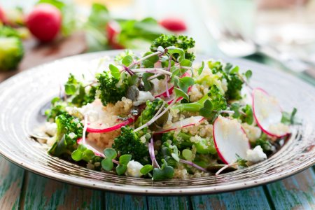 Photo for Broccoli,radish and feta salad with quinoa - Royalty Free Image