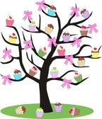 A cupcake and bow tree