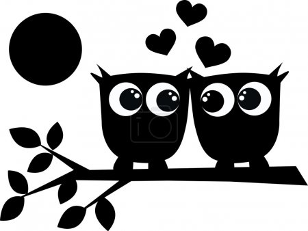 Illustration for Two owls in love - Royalty Free Image