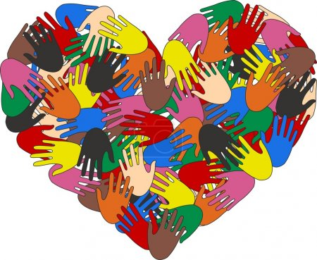 Illustration for A heart ful of colorful hands - Royalty Free Image