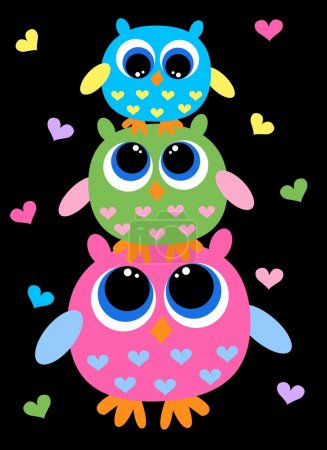 Illustration for Three colorful cute owls - Royalty Free Image