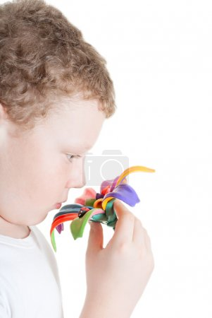 Boy with a beautiful flower