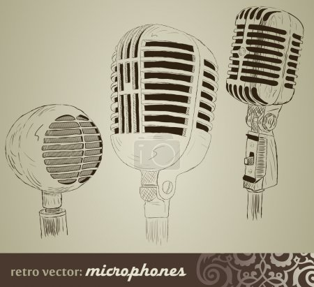 Retro set: Microphones in doodle style