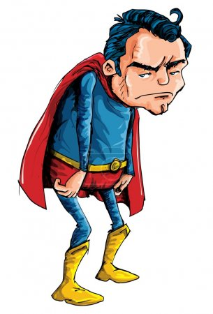 Cartoon of a depressed aging superman