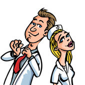 Cartoon doctor flirting with a nurse isolated on white