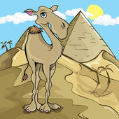 Cartoon camel in front of a pyramid in the desert
