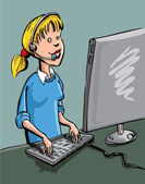 A call center worker at he station