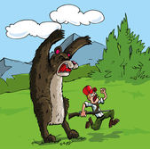 Cartoon of bear attacking a hunter with a gun