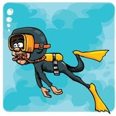 Cartoon diver swimming underwater