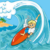 Cartoon boy surfing a wave in the sea