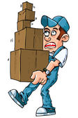 Cartoon of worker carrying boxes