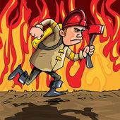 Cartoon fireman running with an axe
