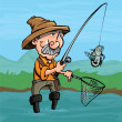 Cartoon fisherman catching a fish. He is standng i...