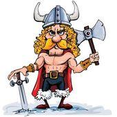 Cartoon viking with a big axe