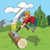 Cartoon lumberjack chopping a huge log