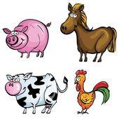 Cartoon set of farm animals