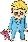 Cartoon of sick little boy