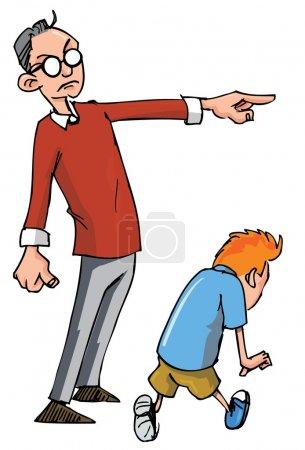 Cartoon of Dad scolding his son