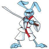 Cartoon samurai bunny