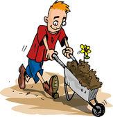 Cartoon gardener man pushing a wheelbarrow full of dirt