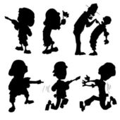 Cartoon set of silhouette soldiers