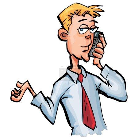 Cartoon businessman on his mobile phone