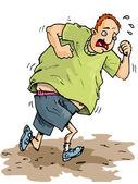 Cartoon of overweight runner