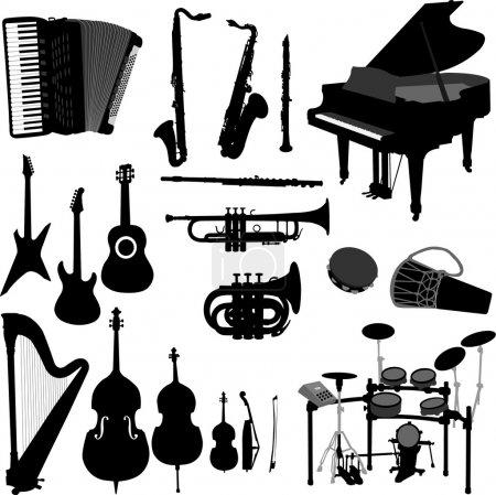 Illustration pour Silhouettes noires d'instruments de musique - vecteur - image libre de droit